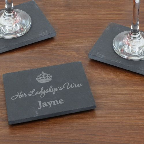Personalised Crown Motif Single Slate Coaster